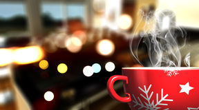 3D Christmas mug on defocussed cafe bar background. 3D render of a Christmas mug on defocussed cafe bar background Royalty Free Stock Photography
