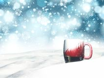 3D Christmas mug nestled in snow. 3D render of a Christmas mug nestled in snow with bokeh lights and snowflake background Royalty Free Stock Photo