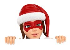 3D Woman christmas superhero leaning with mischievous expression. 3d christmas people illustration. Woman superhero leaning with mischievous expression. Blank Stock Image
