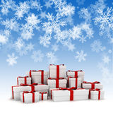 3d Christmas present boxes and snowflakes  background. 3d Christmas present boxes and snowflakes  on the background Royalty Free Stock Image