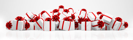 3d - christmas presents - panorama Royalty Free Stock Photos