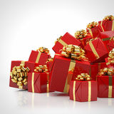 3d - christmas presents - red - gold Royalty Free Stock Images