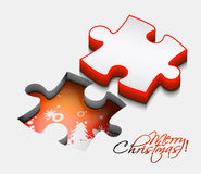 3d christmas puzzle shape. Abstract 3d christmas puzzle shape colorful vector design Stock Photography