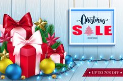 3D Christmas Sale Inside a Frame in Wooden Background Banner. With Gifts, Lights, Balls and Stars Realistic Design for Holiday Season. Vector Illustration royalty free illustration