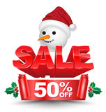3D christmas sale 50 percent off red banner. With snow man head for Christmas promotion advertising. Vector illustration Stock Photo