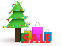 3d Christmas sale with shopping bags and tree Royalty Free Stock Photography