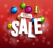3D Christmas Sale Text Hanging for Promotion Royalty Free Stock Photo