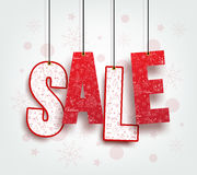 3D Christmas Sale Text Hanging for Promotion Royalty Free Stock Photography