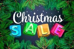 3D Christmas Sale Text for Promotion with a Leaves and Christmas Decorations in White Background. Realistic Vector Illustration vector illustration