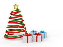 3d Christmas spiral tree and gift boxes Stock Photos
