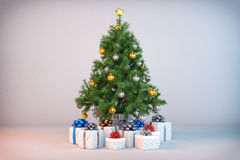 3d - christmas tree - christmas presents. 3d render of a christmas tree with christmas presents Stock Images