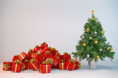 3d - christmas tree - christmas presents. 3d render of a christmas tree with christmas presents Stock Photo