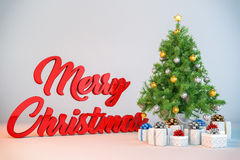 3d - christmas tree - christmas presents. 3d render of a christmas tree with christmas presents and the message merry christmas Stock Images