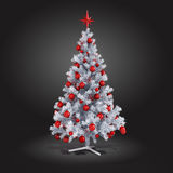3d Christmas tree with colorful ornaments. On grey background stock illustration