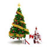 3d Christmas tree with colorful ornaments and presents Stock Photography