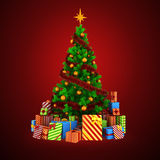 3d Christmas tree with colorful ornaments and presents Royalty Free Stock Photos
