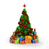 3d Christmas tree with colorful ornaments and presents Stock Photos