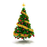 3d Christmas tree with colorful ornaments. On white background Royalty Free Stock Photo