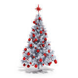 3d Christmas tree with colorful ornaments. On white background royalty free illustration