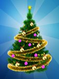 3d Christmas tree over blue Royalty Free Stock Images