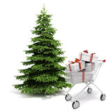 3d Christmas tree and present boxes. On white background royalty free illustration