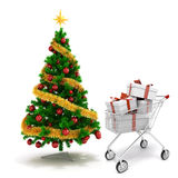 3d Christmas tree and present boxes. On white background stock illustration
