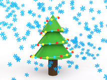 3d Christmas tree with snowflakes. 3d render of Christmas tree with snowflakes Royalty Free Stock Photos