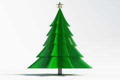 3d christmas tree. On white background Royalty Free Stock Photography