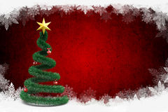 3d Christmas tree. On winter background Royalty Free Stock Photography