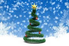 3d Christmas tree. On winter background Stock Photo