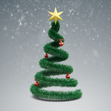 3d Christmas tree. On winter background Royalty Free Stock Photos