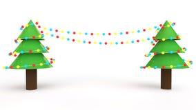 3d Christmas trees with colorful light bulbs Stock Photos