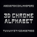 3D chrome alphabet font. Volumetric metal effect letters and numbers. Stock Photography