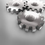 3D Chrome Gears. On Gray Background Royalty Free Stock Photos