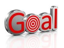 3d chrome goal with target. 3d illustration of chrome shiny word goal with target Royalty Free Stock Photos