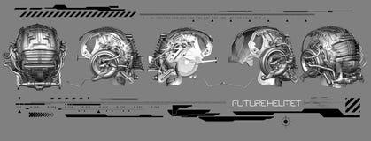 3D chrome helmet illustration stock image