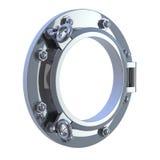 3d Chrome port hole. 3d render of a chrome port hole Royalty Free Stock Image