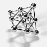 3D chrome spheres,connected to each other. Stock Photo