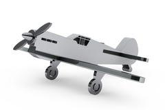 3d Chrome-stuk speelgoed vliegtuig Stock Afbeeldingen