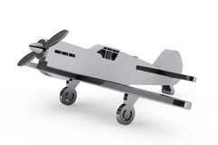 3d Chrome toy airplane Stock Images