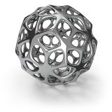 3d chrome wireframe ball. Isolated on dark grey background. 3D rendering. Abstract metal decoration Stock Image