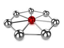 3d chromu balowe sieci z środkowym czerwonym sednem Fotografia Royalty Free