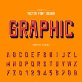 3D chrzcielnicy i abecadła wektor cienia typeface i list liczby projekt, Graficzny tekst na tle ilustracja wektor