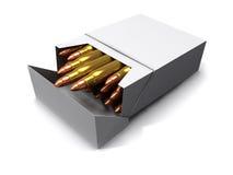 3d Cigarette bullets. 3d render of a cigarette pack full of bullets Stock Image