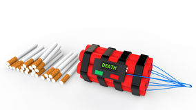 3d cigarettes and time bomb. 3d render of cigarettes and time bomb Stock Photo