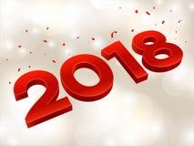 2018 3D cijfers in isometrisch 2018 meetkundeaantallen Nieuw jaarteken voor groetkaart of affiche Vector illustratie Royalty-vrije Stock Foto's