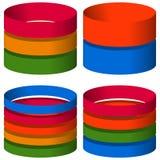 3d cilindros segmentados multicoloridos, ícones do cilindro elementos para Imagens de Stock