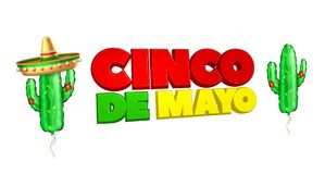 Vector 3d cinco de mayo poster banner. 3d cinco de mayo party poster template. Festival traditional mexican holiday celebration design with realistic sombrero Stock Photography