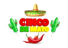 Vector 3d cinco de mayo poster banner. 3d cinco de mayo party poster template. Festival traditional mexican holiday celebration design with realistic sombrero Stock Image