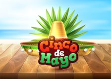 Vector cinco de mayo mexican party poster banner. 3d cinco de mayo party poster. Traditional mexican holiday celebration design with realistic sombrero hat Royalty Free Stock Images